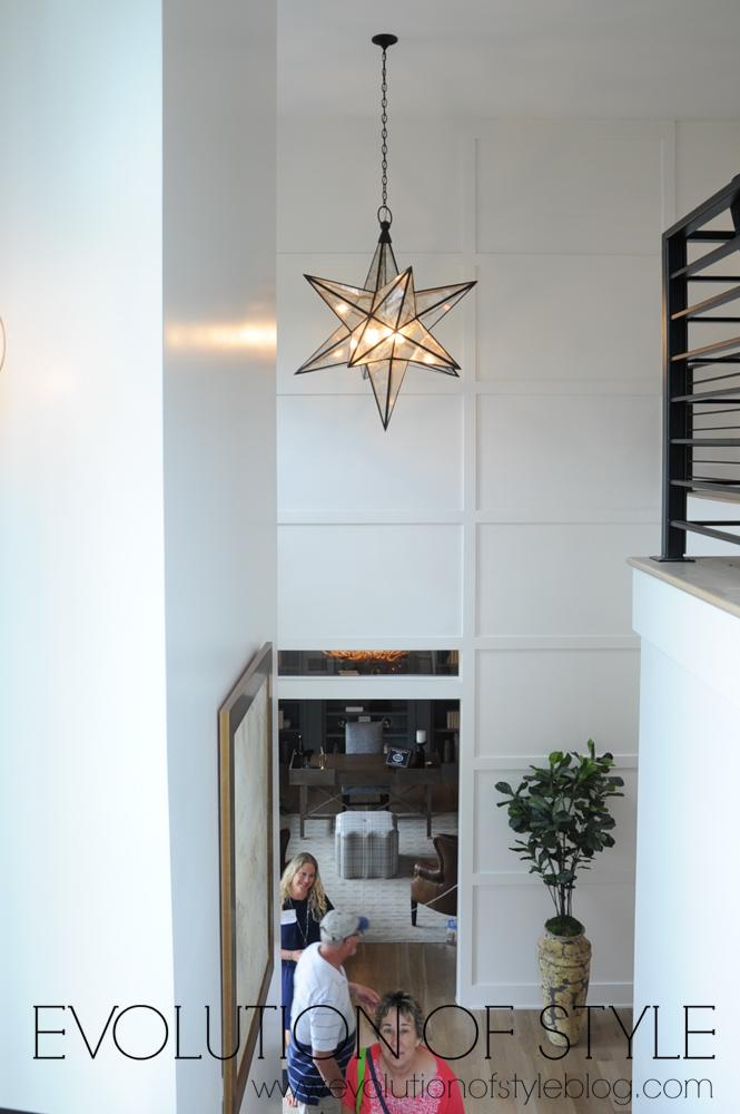 Star chandelier in entryway