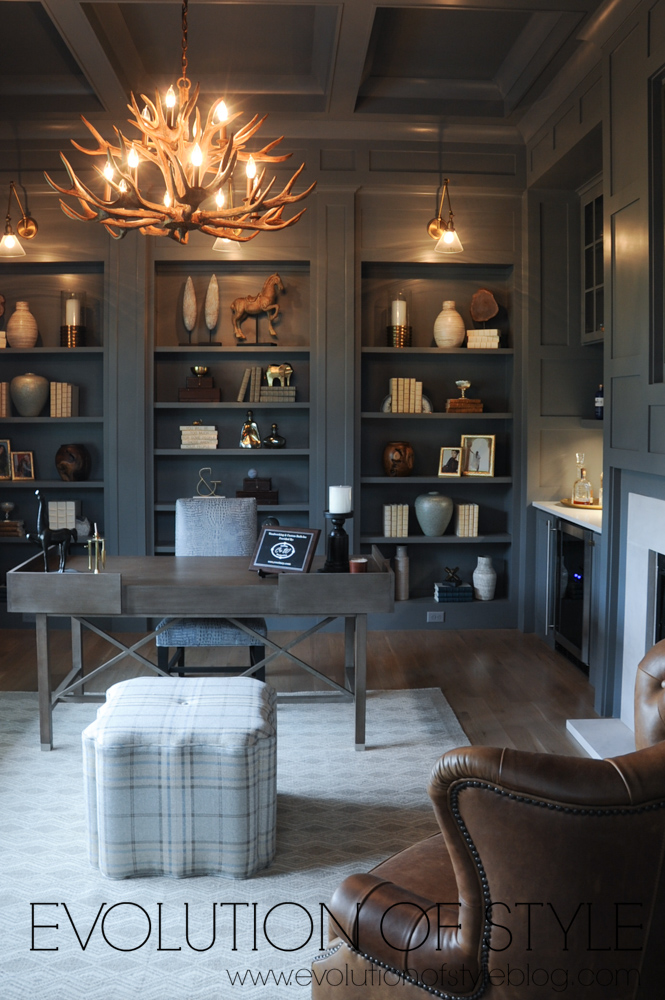 Gray paneled office in modern farmhouse