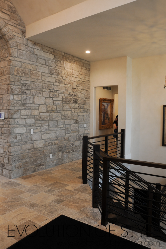 Stone wall inside of modern farmhouse