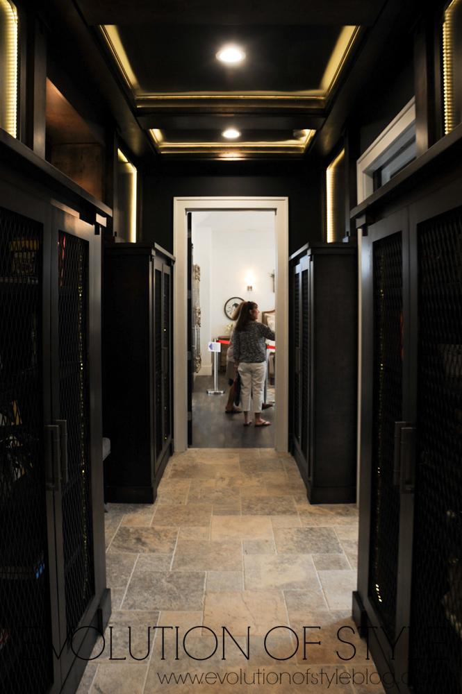 Dark paneled hallway