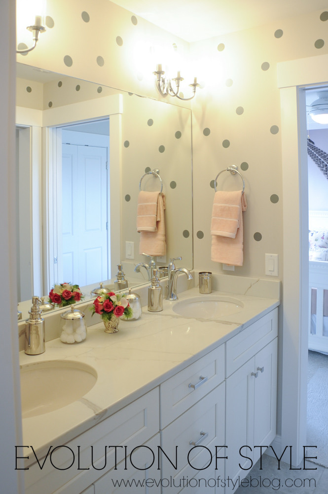 Bathroom with polka dot wall decals