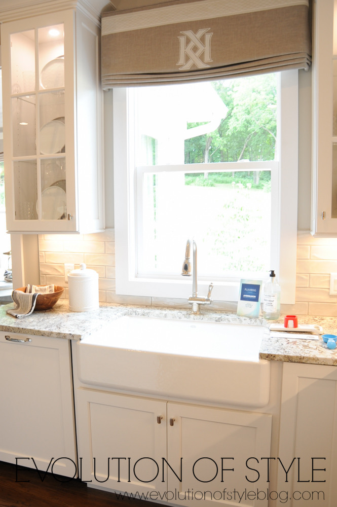 Farm house sink with roman shades