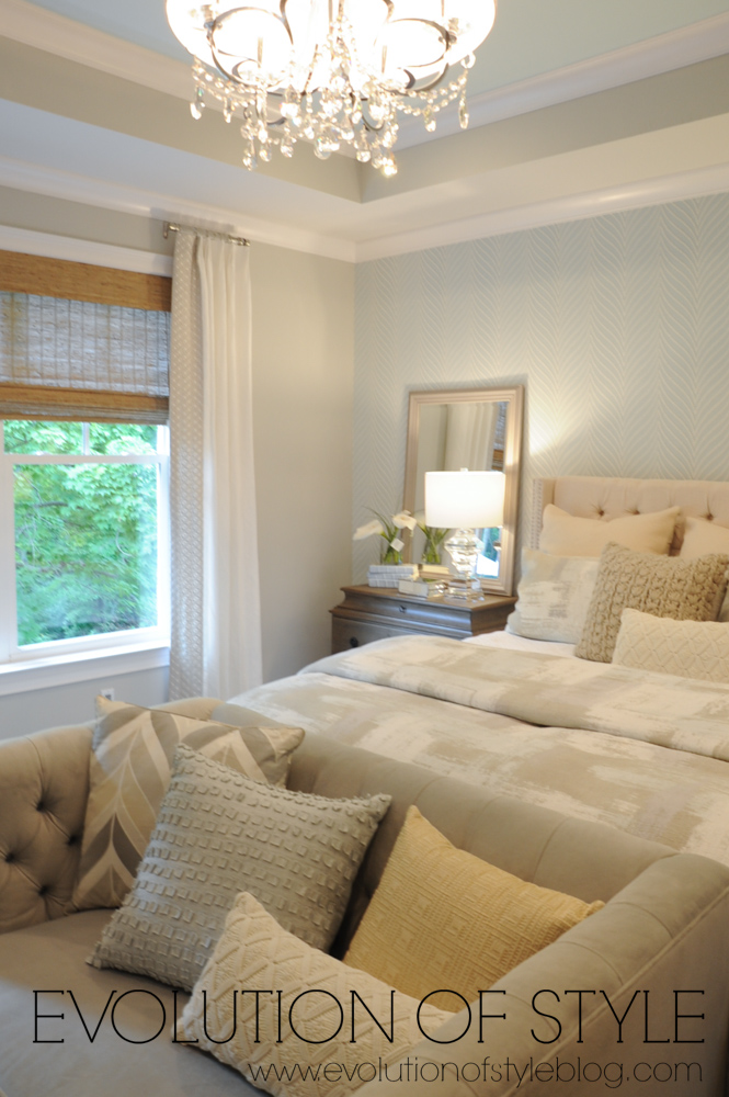 Master bedroom with wallpaper accent wall