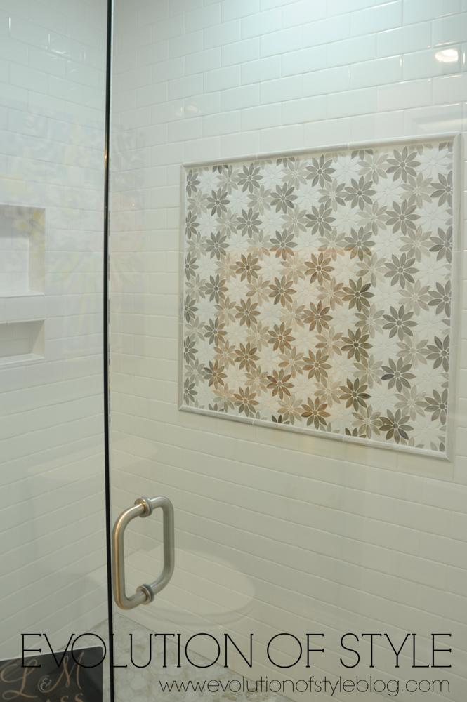 Pretty tile backsplash in master shower