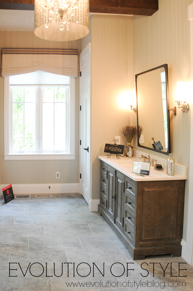 Master bathroom with wood stained vanity