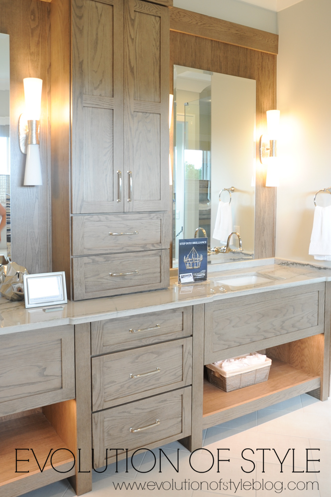 Master bathroom with wood vanity