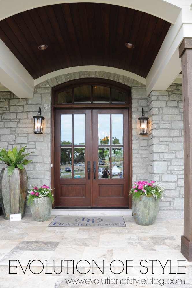 Exterior double front doors with stone