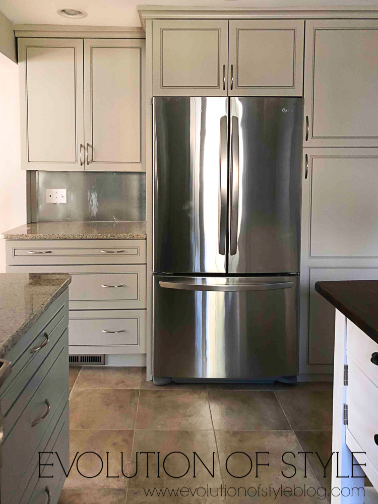 Kitchen Cabinets Painted in Anew Gray from Sherwin Williams
