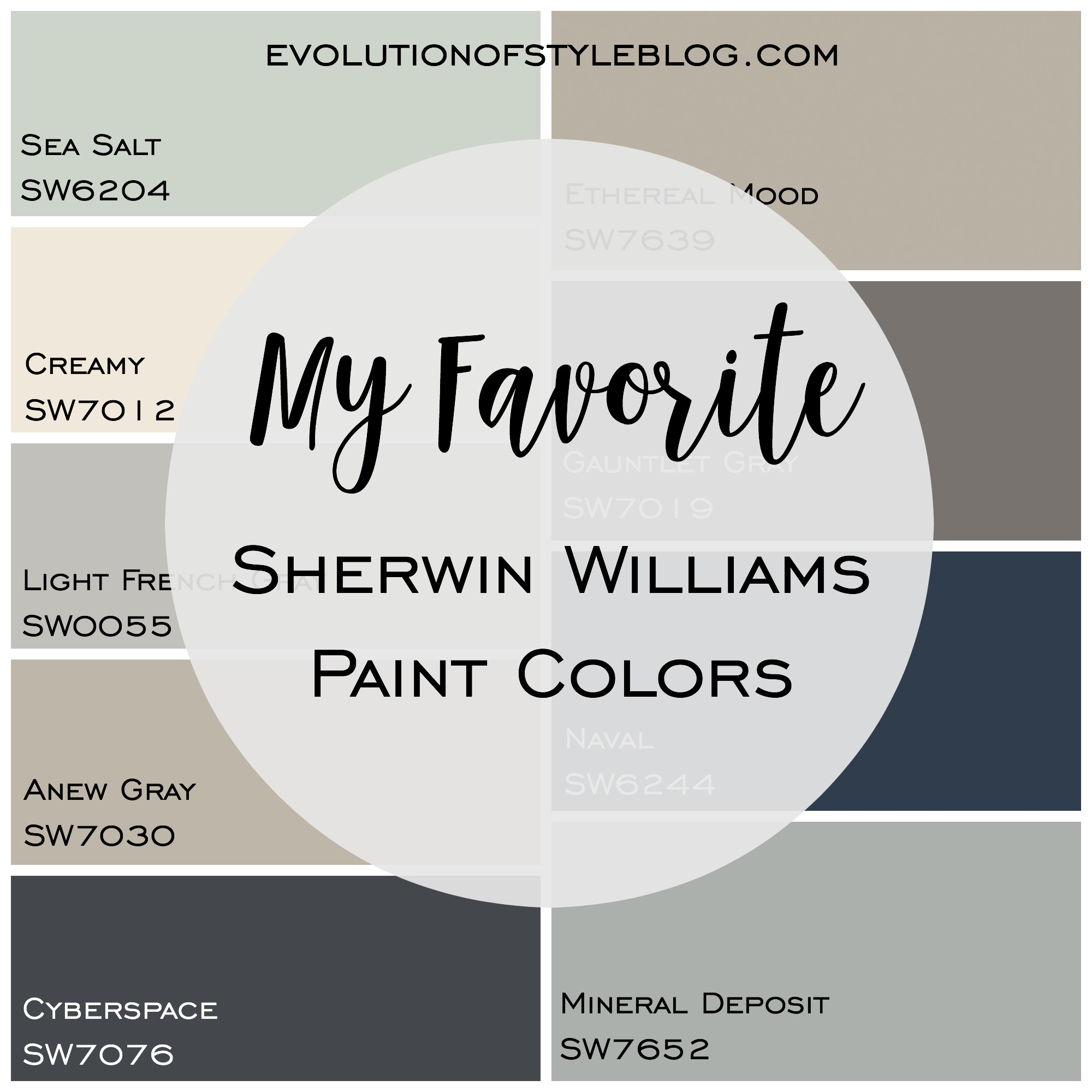 My Favorite Sherwin Williams Paint Colors   Evolution of Style