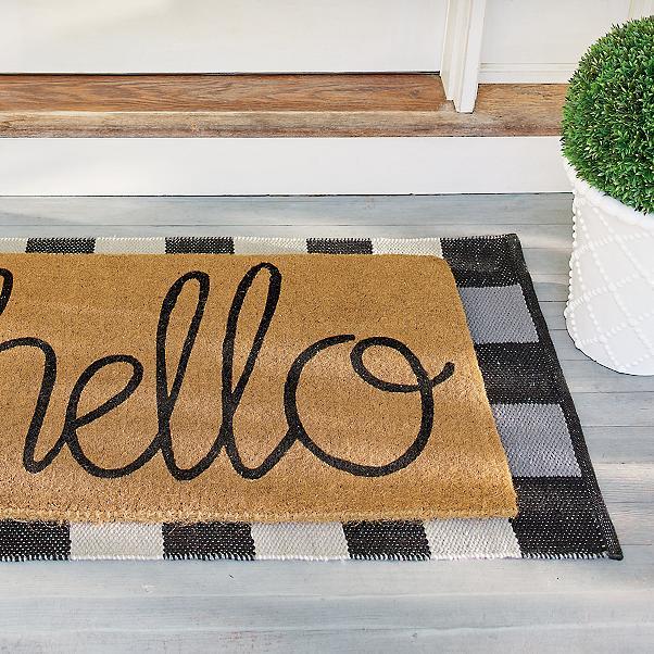 Layered buffalo plaid doormat