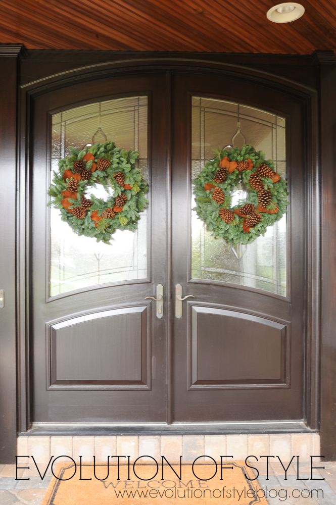 Double Front Doors with Christmas Wreaths