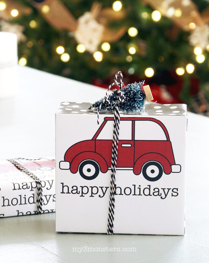 Truck and Tree Printable Gift Box