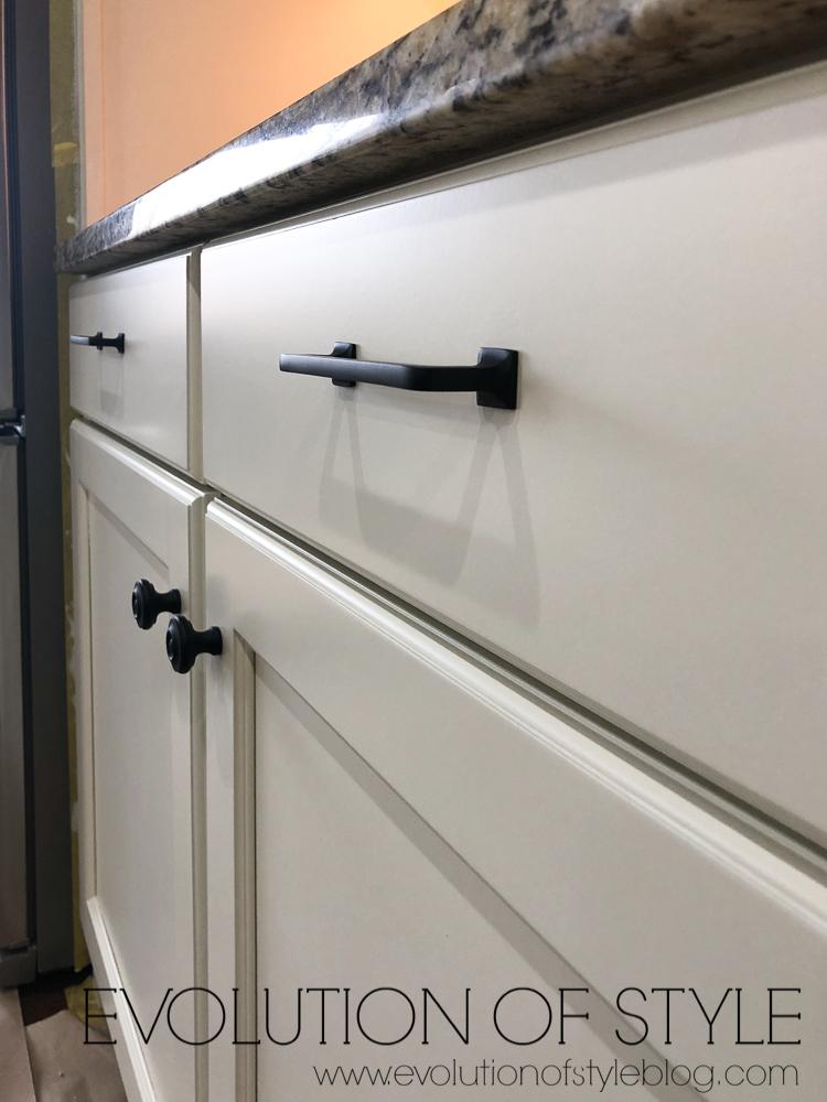 Benjamin Moore Grand Teton White Cabinets with Rejuvenation Hardware