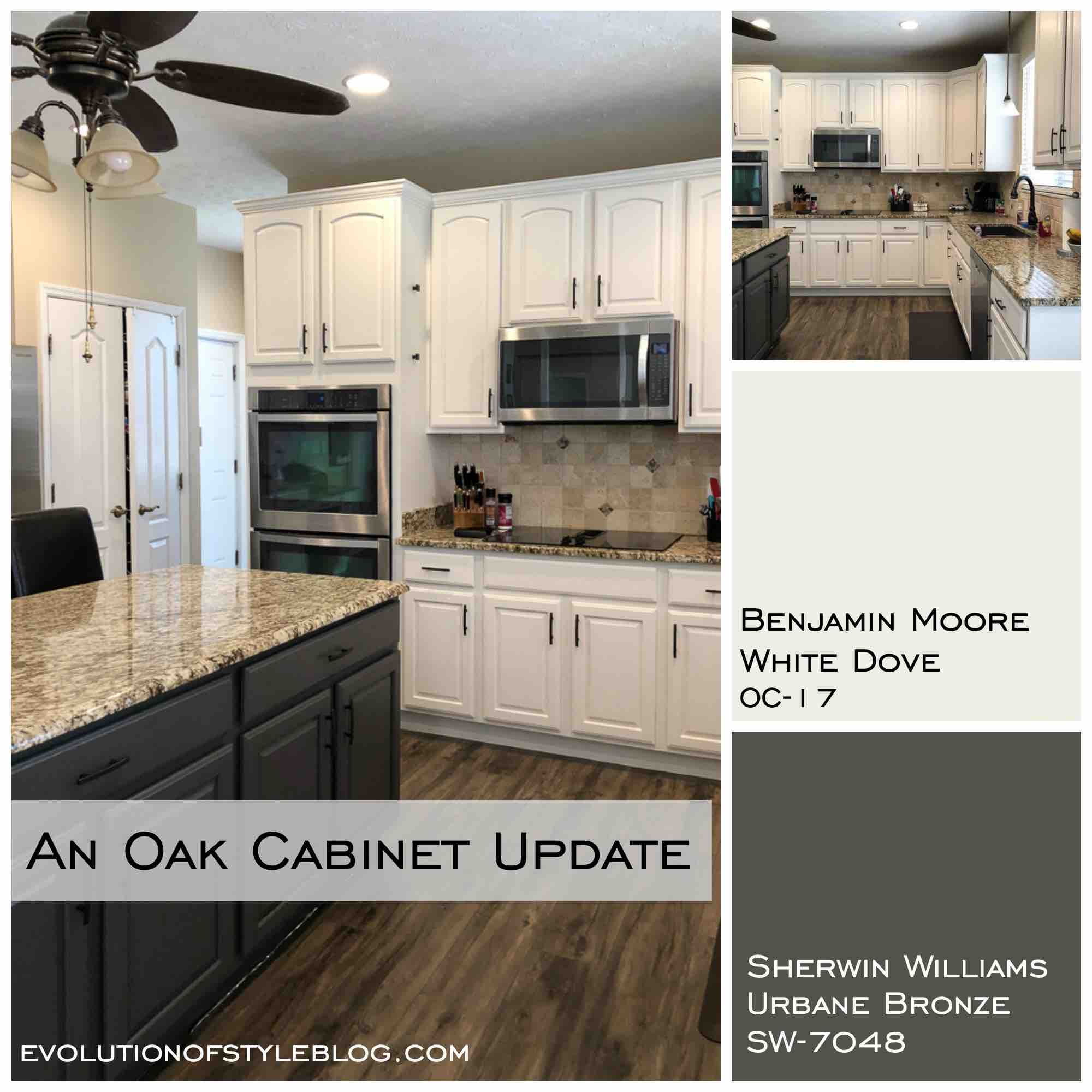 White Dove And Urbane Bronze Painted Cabinets Evolution Of Style