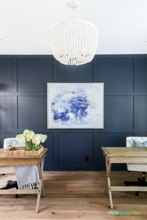 Navy Wood Paneled Wall
