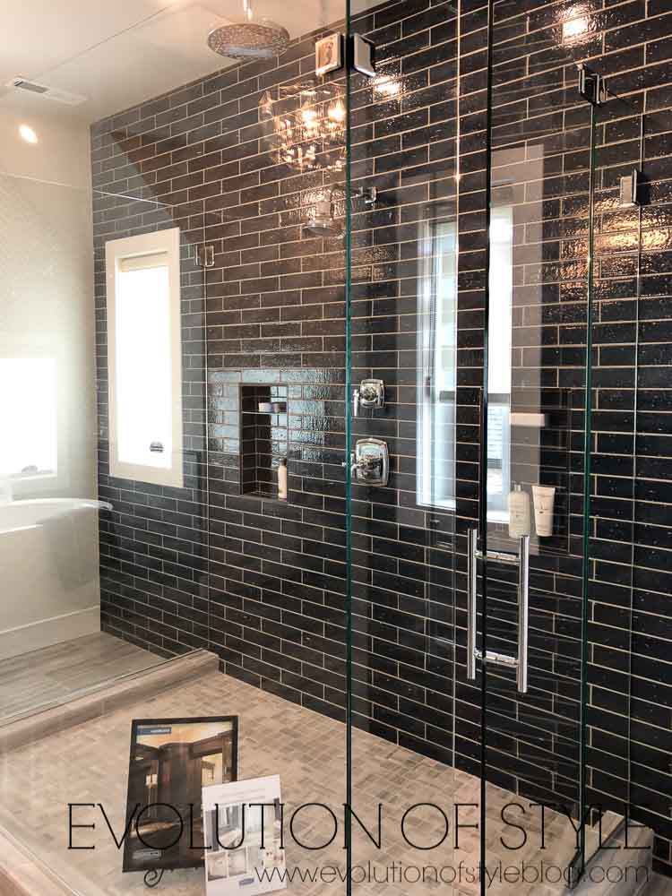2019 Homearama Day One - Black Subway Tile Shower