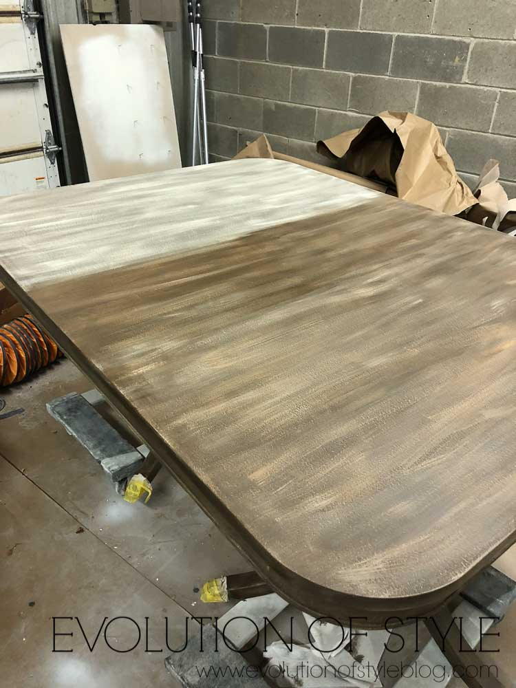 Glazing a dry brushed dining table makeover