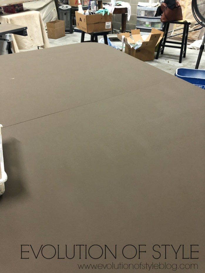 Dining Table with Base Coat - Dining Table Makeover