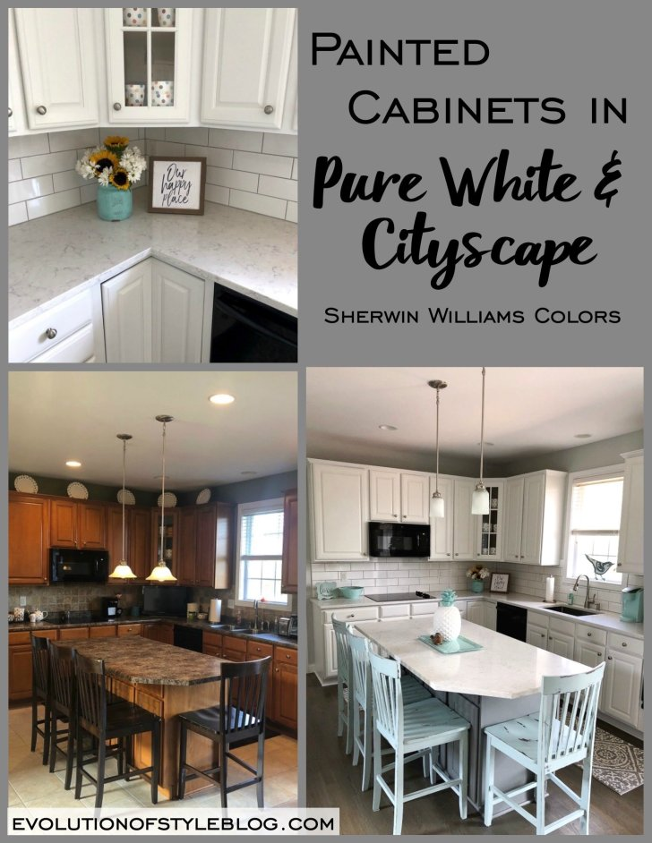 Sherwin Williams' Pure White and Cityscape Kitchen Cabinets