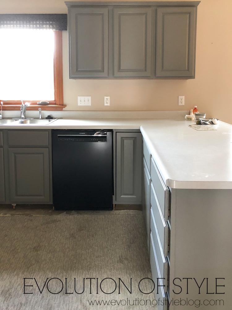 Painted Kitchen Cabinets - Sherwin Williams Dorian Gray