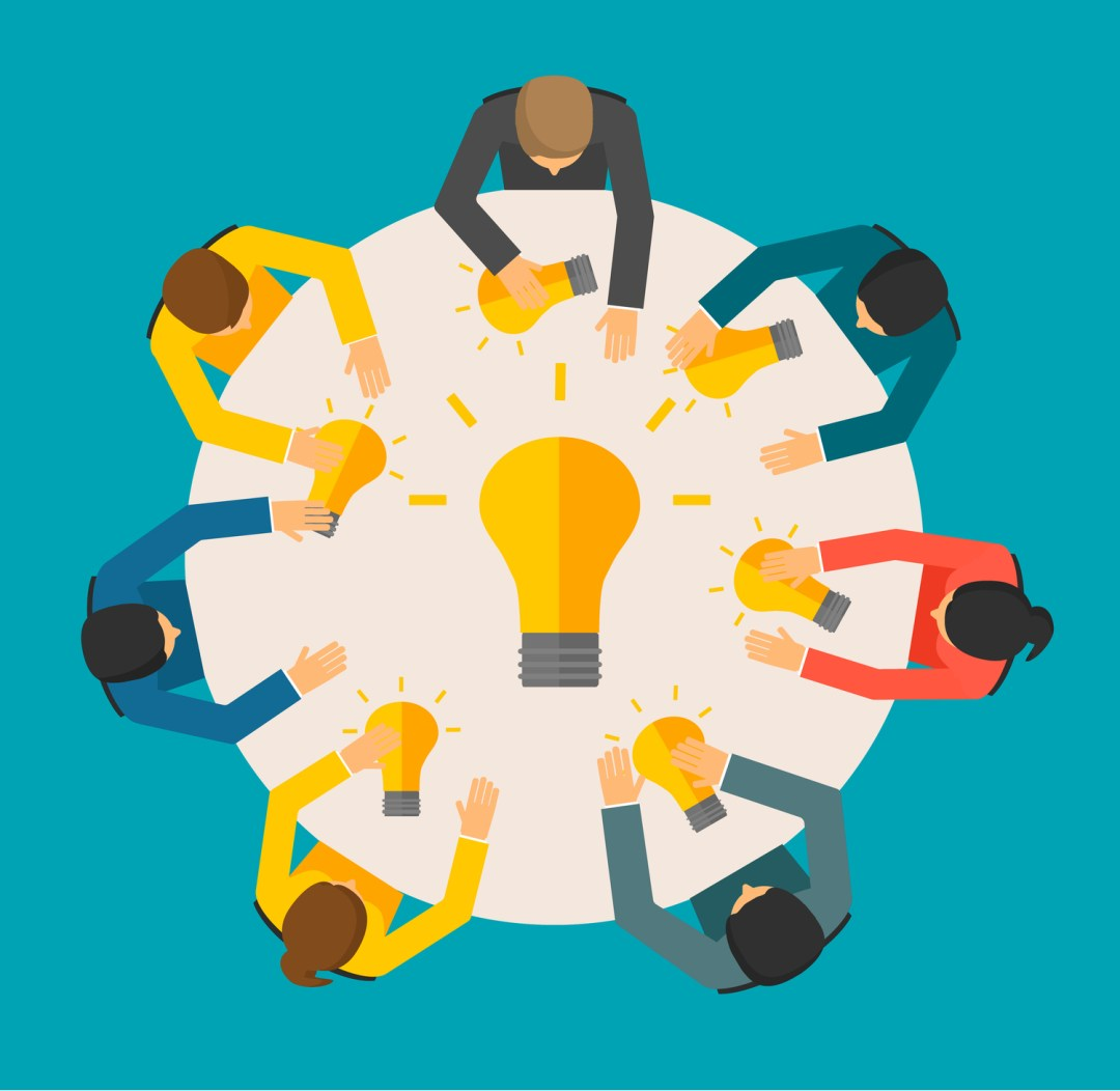 Graphic shows an illustration of seven people sitting around a table with lightbulbs on the table, representing a share of ideas. When looking for licensed therapist jobs in Wilmington, NC, counseling jobs, or mental health clinician jobs, it is important to bring ideas to the table. 28411 | 28412 | 28451