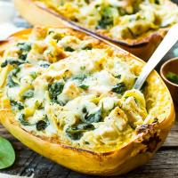 Spinach Artichoke Spaghetti Squash Boats with Chicken