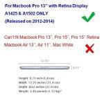 Coque MacBook Pro Retina 13.3″ – Transparent Crystal Hard Case Cover Coque de Protection pour Macbook Pro 13.3″ Retina Display (Modèle A1502 ou A1425) Housse en Plastique Etui