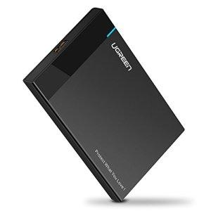 UGREEN USB 3.0 Boîtier Externe pour Disque Dur Externe 2.5» SATA HDD SSD (7mm à 9,5mm) 6 To Maximale, Haute Vitesse à 5Gbps, UASP Compatible, USB 3.0 Câble, Noir