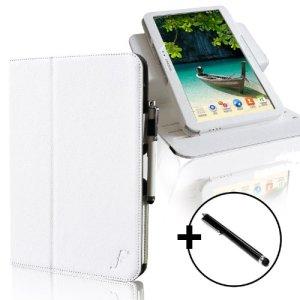 ForeFront Cases® – Étui en cuir synthétique avec support pour Samsung Galaxy Tab 3 10.1 Smart Case Cover – mise en veille automatique par fermeture magnétique – stylet inclus – Blanc