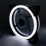 EASYDIY Ventilateur silencieux blanc à double anneau LED de 120 mm pour les boîtiers d'ordinateur, les refroidisseurs d'unité centrale et les radiateurs Ventilateur ultra silencieux d'ordinateur à haut débit d'air, 3 broches, Deux