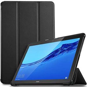 IVSO Coque Etui Housse pour Huawei MediaPad T5 10, Slim Cover Housse de Protection avec Support Fonction pour Huawei MediaPad T5 10 10.1 Pouce 2018, Noir