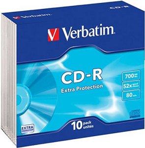 Verbatim 43415 CD-R 80 mn 52X 700 Mo Extra protection – Spindle de 10