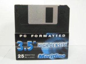Lot DE 25disques de Disquette 8,9cm HD 1,44Mo Noir, Meritline Marque