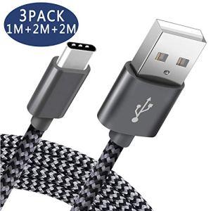 Câble USB C Pavoma Cable USB Type C – 2M+2M+1M/Lot de 3 – Chargeur Samsung Rapide à Cable Type C en Nylon Tressé en Compatible avce SamsungS9+/S9/Note8,Huawei P20/P10,Macbook,Oneplus,Android–Gris&Noir