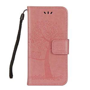 DENDICO Coque Huawei Honor 6A, Coque en Cuir Magnétique Clip Portable Étui Housse Portefeuille avec Slots de Cartes pour Huawei Honor 6A – Rose