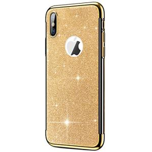 JAWSEU Coque iPhone XS Max,Etui iPhone XS Max Silicone TPU,Placage Paillette Bling Brillant Glitter Ultra Mince Transaprent Flexible Silicone Gel Souple Coque Housse Etui pour iPhone XS Max,Or