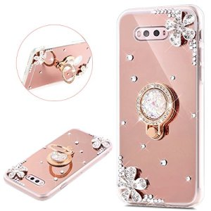 JAWSEU LG V20 Coque Transparent Glitter Silicone Pailletee Brilliante Fleur Diamant Ring Stand Holder Slim Soft TPU Cristal Sparkle Scintillant Flexible Souple Gel Etui