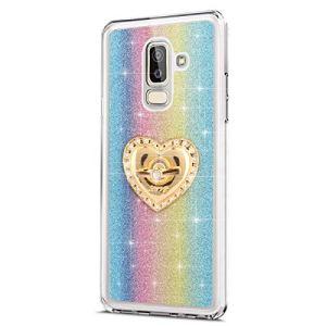 JAWSEU Samsung Galaxy J8 2018 Coque Etui Silicone TPU, Glitter Bling Strass Diamant Support de Bague de Stand,Luxe Mode Sensation de Matte Cristal Clair Brillant Soft TPU Bumper Case