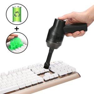 MECO Mini Aspirateur sans Fils Rechargeable avec 1 Pcs Magic Gel Nettoyant pour Clavier Keyboard Ordinateur Souris Kit de Nettoyage à Brosse de Poussière de Clavier d'Ordinateur