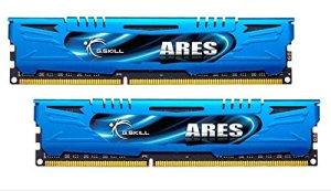 Modules de mémoire non ECC compact G-Skill Ares – F3 1866 16GAB 16 GB (8 GB x 2) DDR3-1866 – Dissipateur de chaleur – Bleu