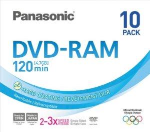 PANASONIC DVD-RAM vitesse 3x – 4,7 Go – pack de 10