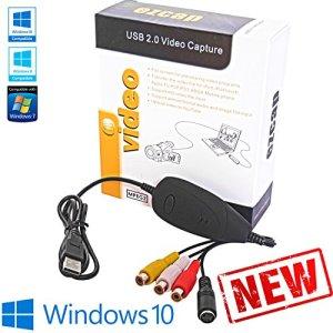 Tech Stor3 –Carte d'acquisition numérique audio vidéo, USB 2.0, logiciel compatible avec Windows 10, adaptateur vidéo pour numériser vos cassettes VHS