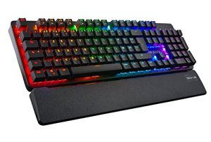 THE G LAB Keyz Rubidium Clavier Mécanique Gaming, Switch Rouge, Rétro-Éclairage RGB Multicolore, Macros, Logiciel, AZERTY, Noir