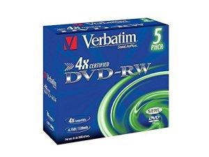 VERBATIM DVD-RW Matt Silver–Blank DVDs (4.7Go, DVD + R 120Min, 120mm, Jewelcase)