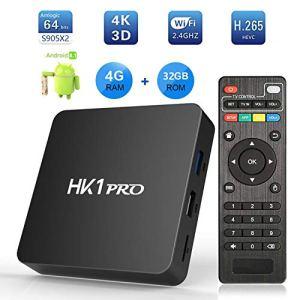 Android 8.1 TV Box, 2019 Dernière Version Boîtier TV 4K 3D[4GB RAM+32GB ROM], SeeKool HK1 Pro S905X2 Quad Core 64 Bits Smart TV, Android Box avec UHD@60fps/H.265 / BT4.1/2.4G/5GHz WiFi/USB 3.0