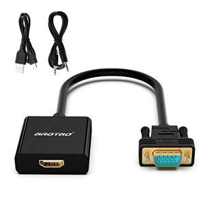 aROTaO Actif Adaptateur HDMI vers VGA avec Prise Jack Audio 3.5mm et Port d'Alimentation Micro USB, Convertisseur HDMI Femelle VGA Mâle Compatible avec TV Stick,Raspberry Pi,Xbox 360/One,PS4,PS3 etc.