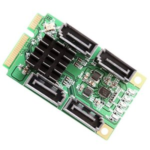 Iocrest 4Ports SATA 6.0GB/s III Mini PCI-Express Host Controller Card–Vert