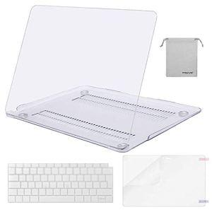 MOSISO Coque Compatible MacBook Air 13 Pouces A1932 2018 avec Retina Display&Touch ID, Coque Rigide&AZERTY Protection Clavier(EU Disposition)&Protecteur Écran&Sac Rangement, Transparent Cristal