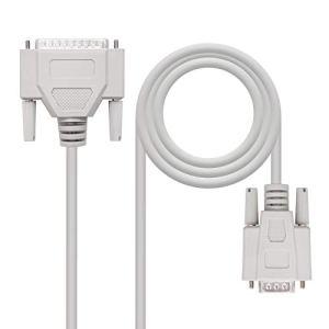 Nano Cable 10.14.0803 – Câble Serie RS232 Null Modem, DB9/DB25,Femelle-mâle, 3mts