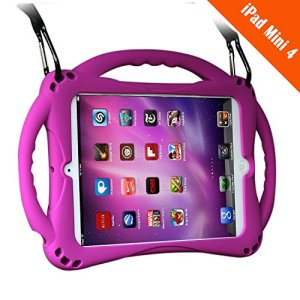 TopEsct [Nouveau Design] de Coque de Protection pour iPad Mini 4 pour Enfants avec Poignée de Protection Antichoc pour iPad Mini 4(A1538 A1550)(iPad Mini4,Violet)